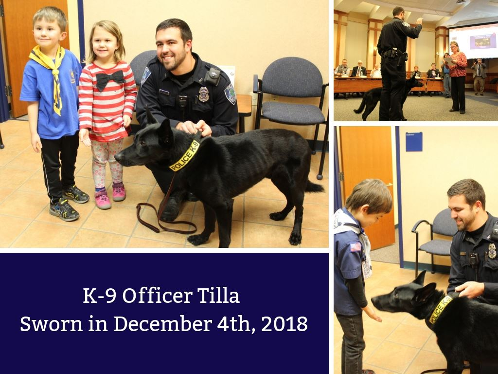 K-9 Officer Tilla Sworn in December 4th, 2018
