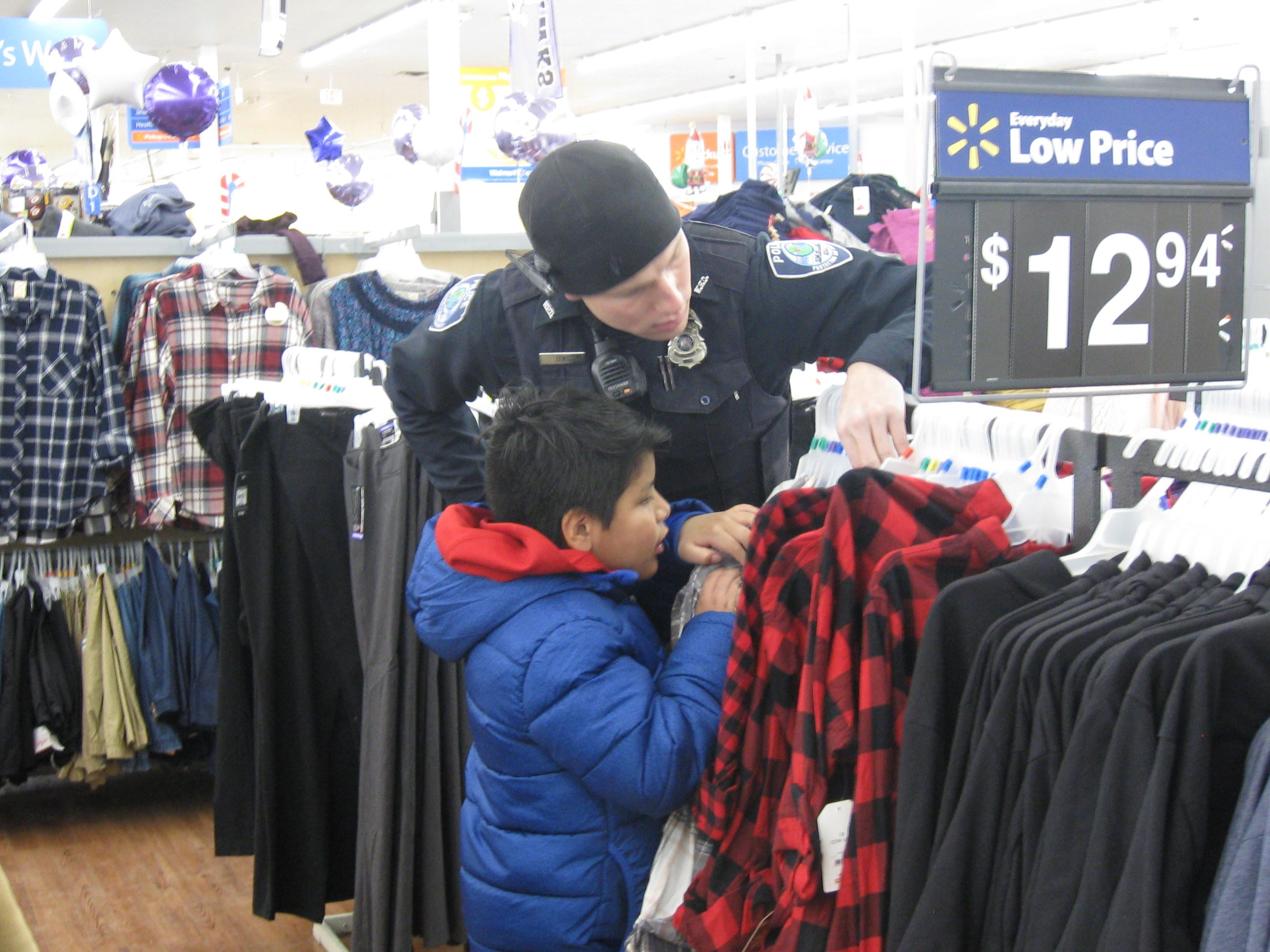 Police Officer Shopping for Clothes with a Child